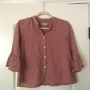 Madewell Red & White Gingham Blouse